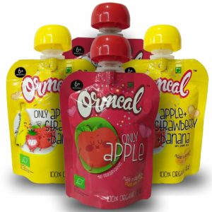 Ormeal EU Certified Organic Food with Apple Puree, Strawberry, Banana and Mix Fruit Puree