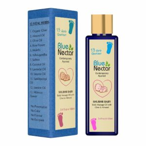 Blue Nectar Ayurvedic Baby Massage Oil with Organic Ghee
